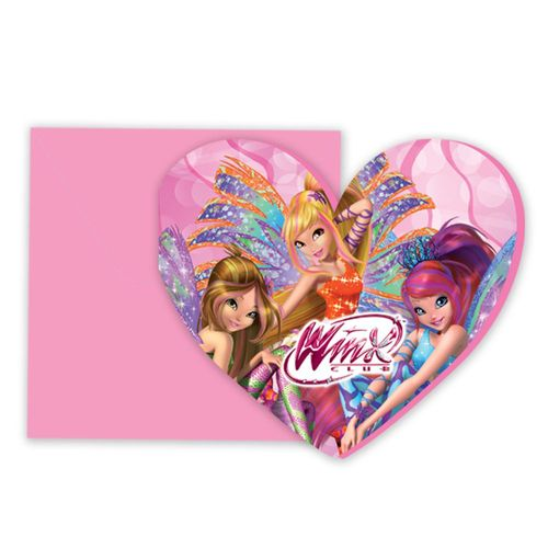 Einladungskarten | 6 Stück | Winx Club | Sirenix | Kinder Party Geburtstag