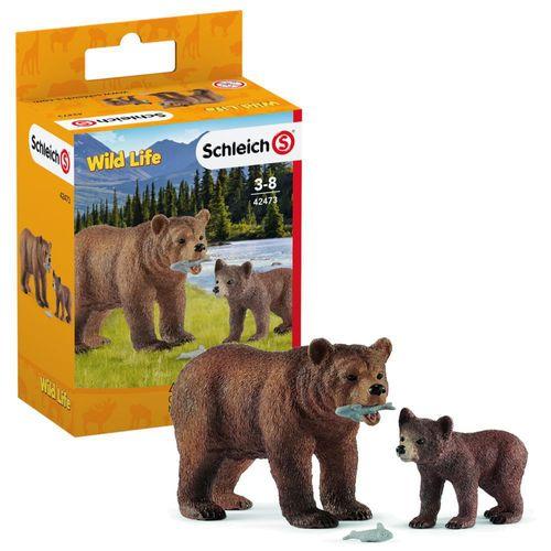 Grizzly-Bär mit Jungem | Schleich | Sammelfiguren | Set Bären | Wild Life