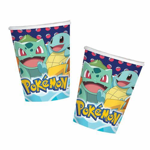 Party-Becher | 8 Stück | Pokemon | Kinder Geburtstag | Einweg-Geschirr