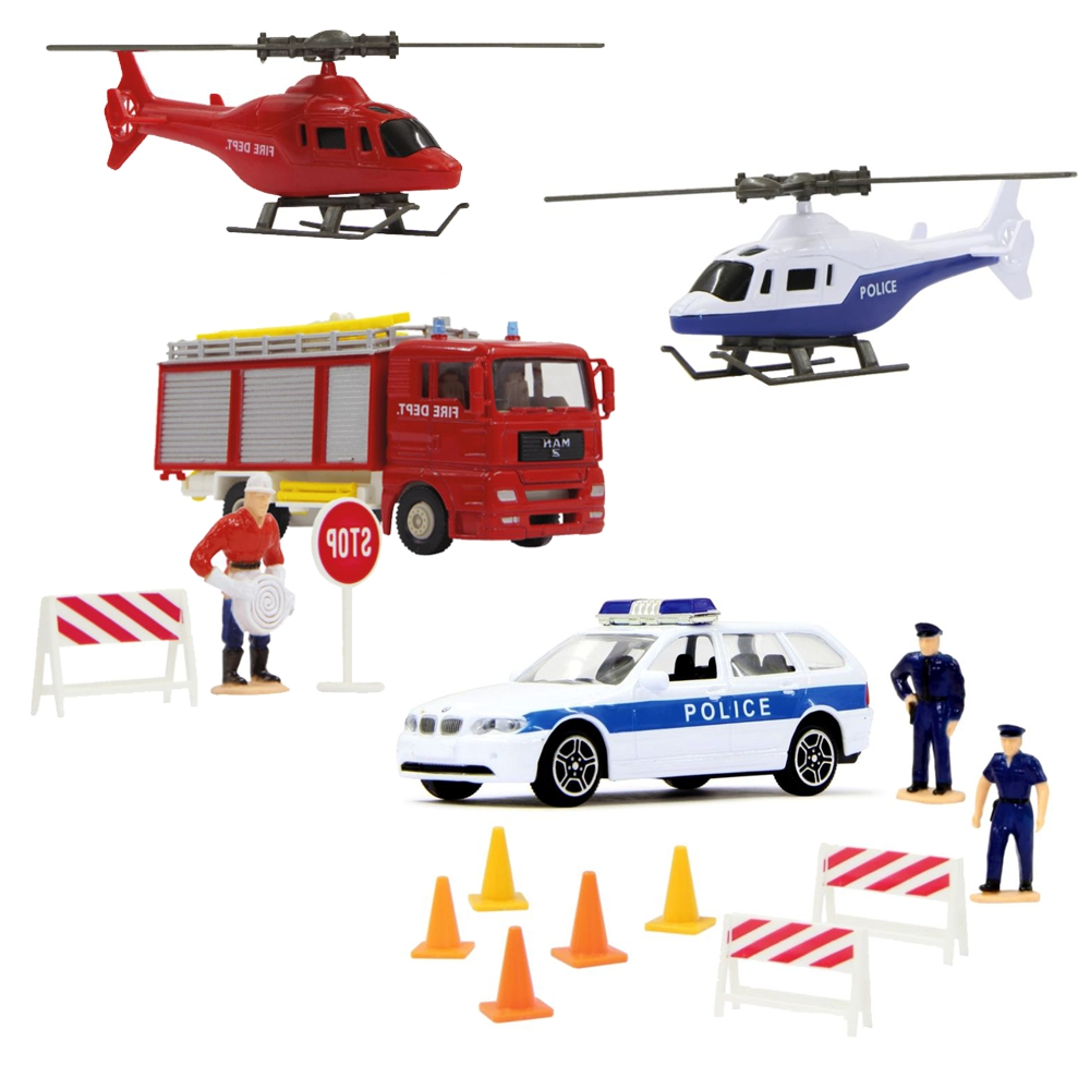 Feuerwehrauto /& Helikopter6-teiliges Spielset mit FigurenDie CastMAN