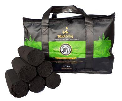 BlackSellig 10 Kg Stangen Kokos Grill Briketts XXL reine Kokosnussschalen Grillkohle + 50 Stück natürliche Anzünder - perfekte Profiqualität - versandkostenfrei!!!!!