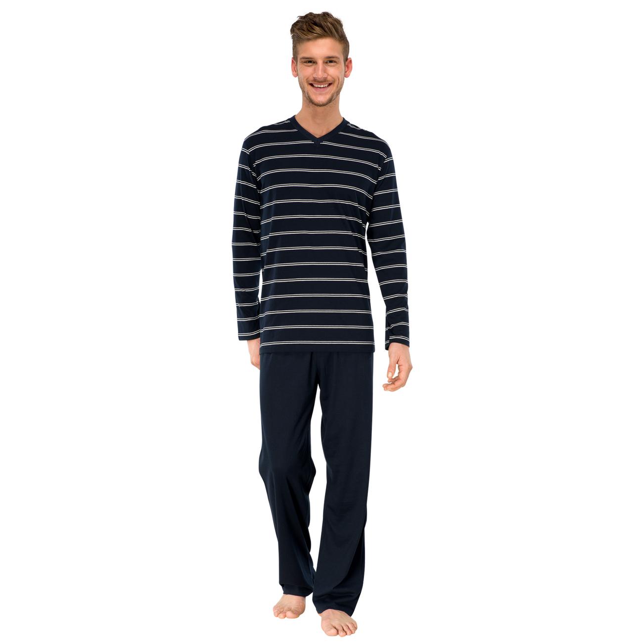 146602 Schiesser Herren langer Schlafanzug Pyjama Lang