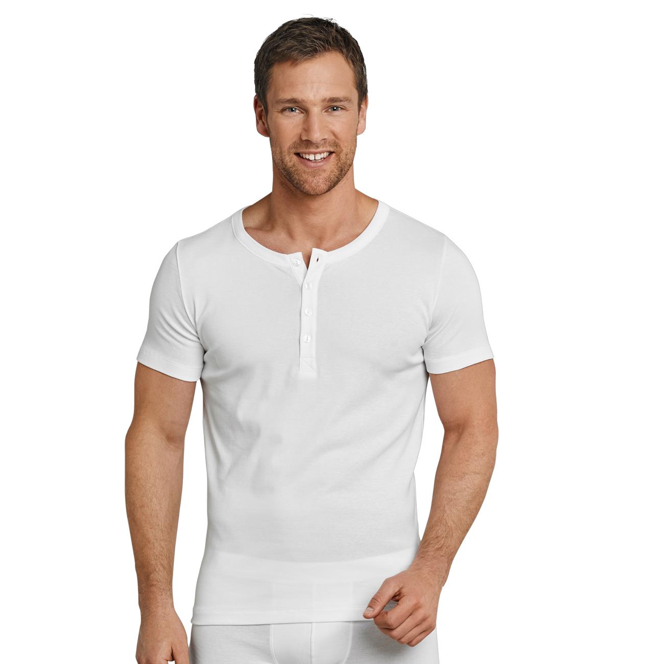 SCHIESSER Herren T-Shirt mit Knopfleiste Long Life Cool 1er Pack