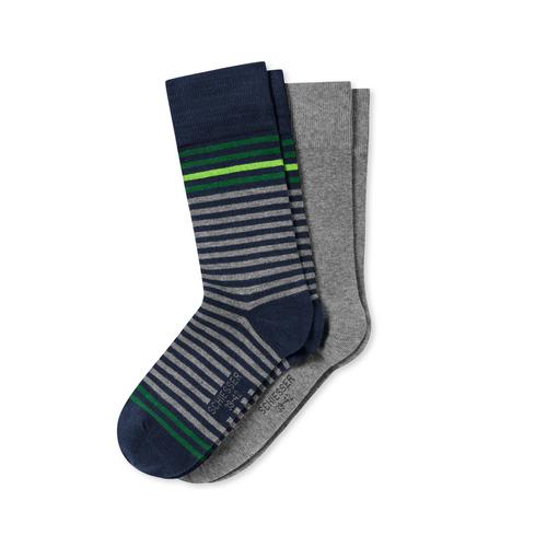 SCHIESSER Herren Socken Cotton Fit Stripes Fashion 2er Pack