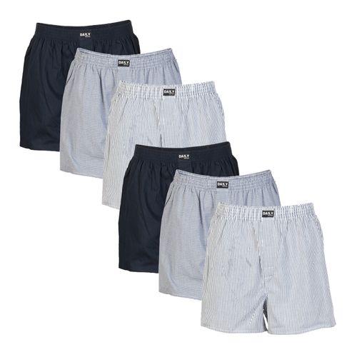 Daily Underwear Herren Webboxer Boxershorts Sparpaket 6er Pack