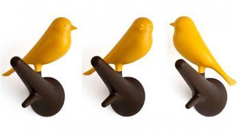 Wandhaken mit Vogel Sparrow auf Ast - 2er Set - gelb/braun