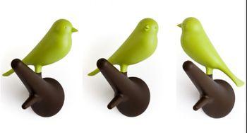 Qualy Wandhaken mit Vogel Sparrow auf Ast - 2er Set - grün/braun