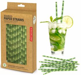 144 Stk. Papierstrohhalme - Bambus Optik