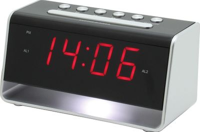 Soundmaster UR8100SI - Alarm Clock with Night Light and USB Charging Jack