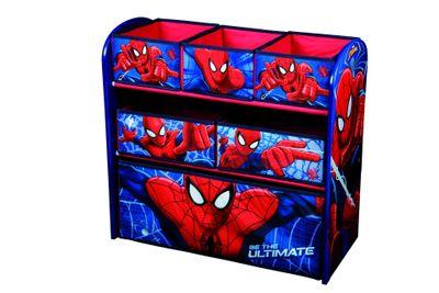Spiderman Kinderregal aus Holz mit 6 Aufbewahrungsboxen für die Spielzeugaufbewahrung