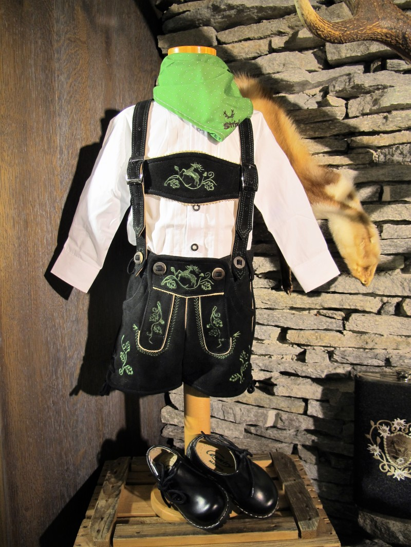 Spieth Wensky Lederhose Kinderlederhose kurz schwarz mit grünen Stick Gr. 86 - 176 – Bild 1