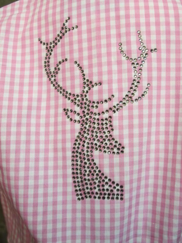 St. Peter Trachtenbluse für Mädchen rosa mit Strass-Hirsch Gr. 104 - 164 – Bild 5