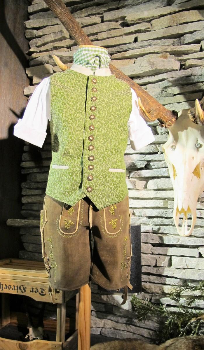 Meindl Lederhose Kinderlederhose Hirschleder hellbraun Stick grün 92-116 – Bild 1