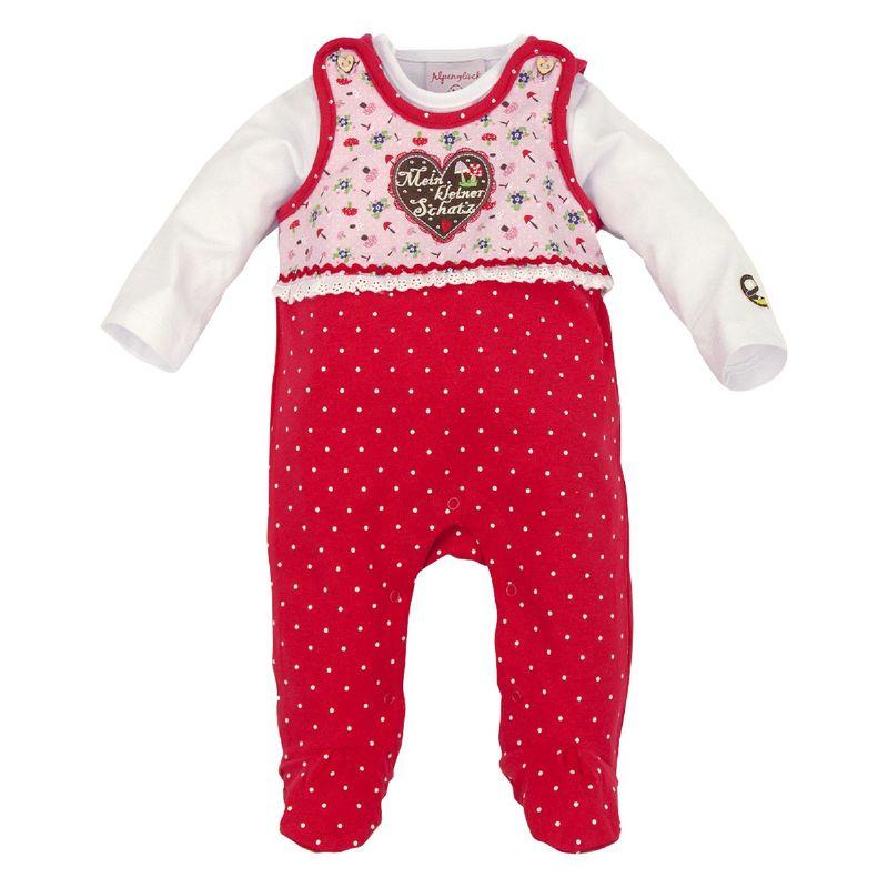 Bondi Strampler Body Babybody Trachtenbody Tracht rot Gr. 56 - 68 – Bild 1