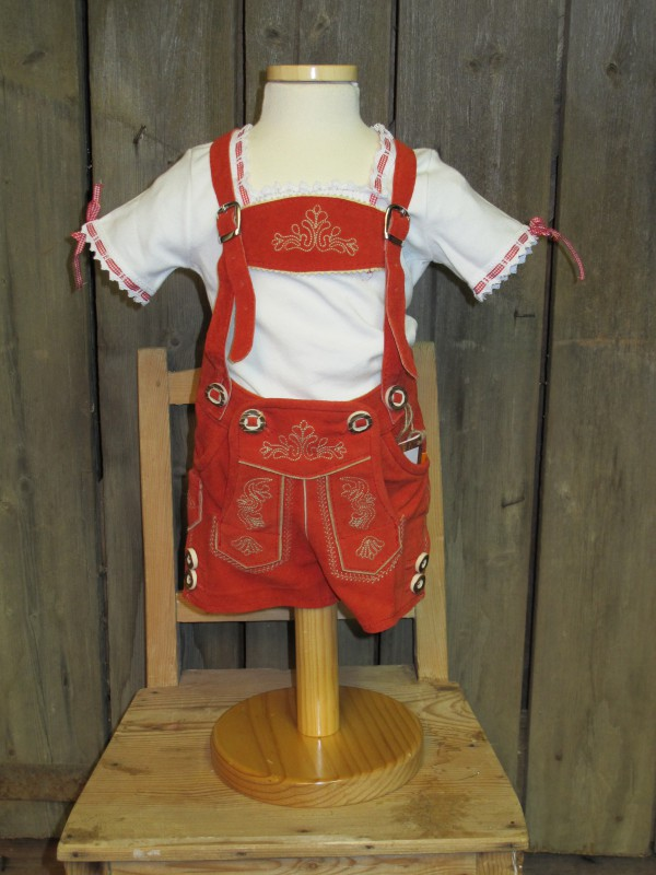 Maddox Baby,-Kinderlederhose Lederhose kurz rot / rost  Gr. 62 - 176