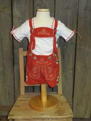 Maddox Baby,-Kinderlederhose Lederhose kurz rot / rost  Gr. 62 - 176 001