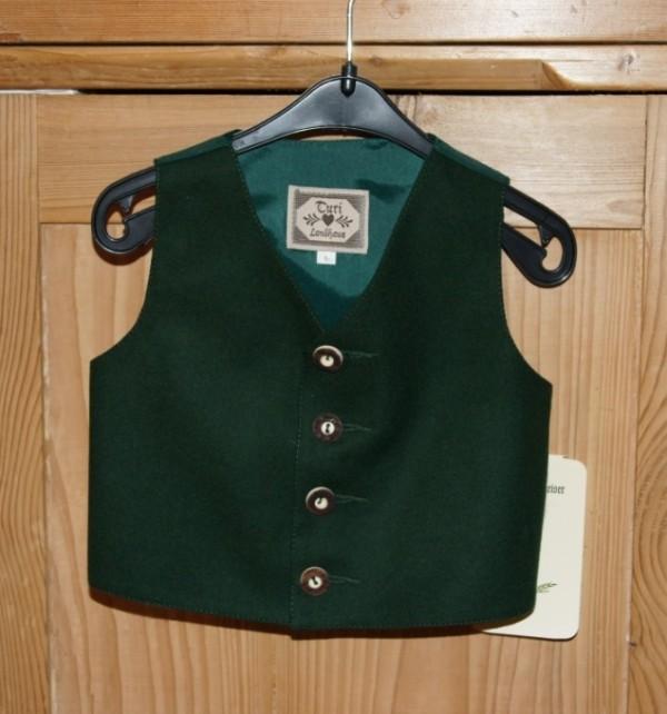 Turi Taufe Baby Gilet / Lodenweste tanne grün Gr. 62 - 80 für Taufanzug Hirschknopf – Bild 1
