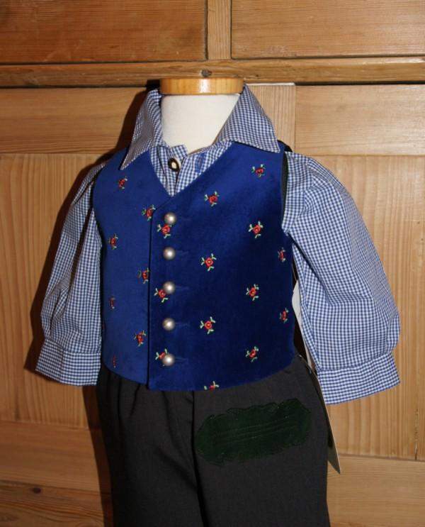 Turi Taufe Baby Gilet / Samtweste blau royalblau Gr. 62 - 92 für Taufanzug – Bild 2