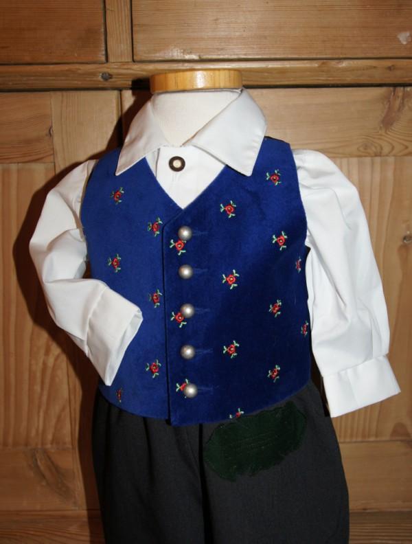 Turi Taufe Baby Gilet / Samtweste blau royalblau Gr. 62 - 92 für Taufanzug – Bild 1