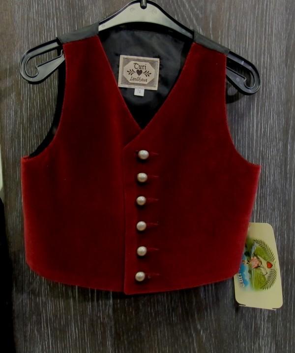Turi Taufe Baby Gilet / Samtweste rot bordeaux Gr. 62 - 80 Rücken schwarz – Bild 1