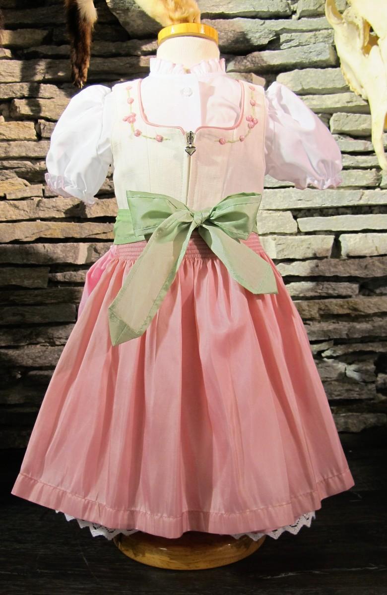 Turi Taufdirndl Babydirndl Gr. 62 - 80 Dirndl weiß creme rosa – Bild 1