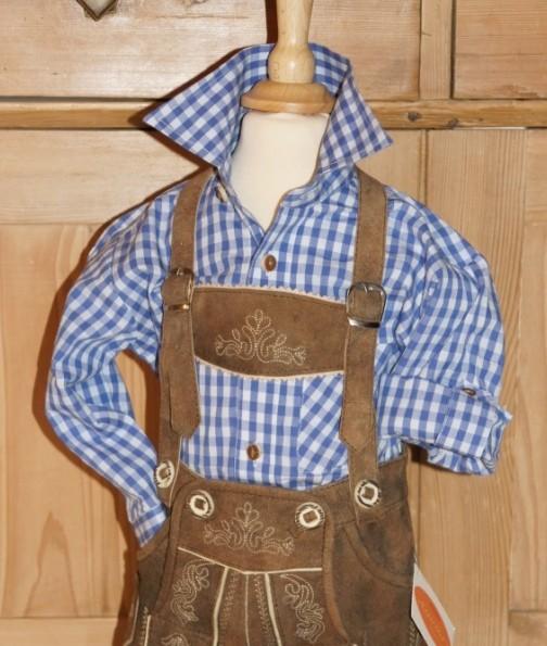 Kidstracht Trachtenhemd Hemd blau kariert Gr. 62 - 176 – Bild 1