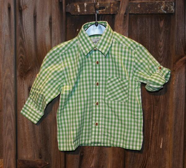 Isar Trachten Trachtenhemd Hemd grün (apfel) kariert Gr. 68 - 164 – Bild 1