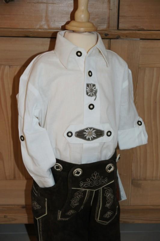 Isar Trachten Trachtenhemd Leinenhemd weiß Edelweiß Gr. 80 - 164 – Bild 1