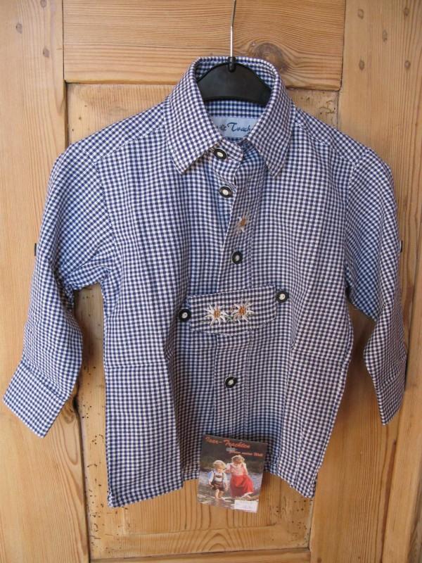 Isar Trachten Trachtenhemd Hemd blau kariert Gr. 62 - 164 – Bild 1