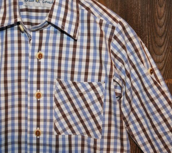 Isar Trachten Trachtenhemd Hemd blau braun kariert Gr. 68 - 176 – Bild 3