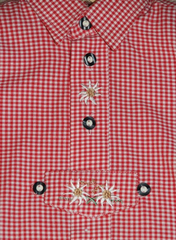 Isar Trachten Trachtenhemd Hemd rot kariert Gr. 62 - 164 – Bild 2