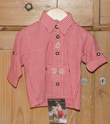 Isar Trachten Trachtenhemd Hemd rot kariert Gr. 62 - 164 001