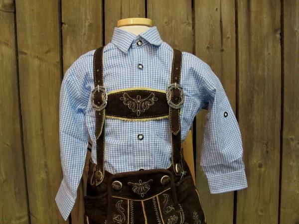 Isar Trachten Trachtenhemd Hemd hellblau kariert Gr. 62 - 176 – Bild 1