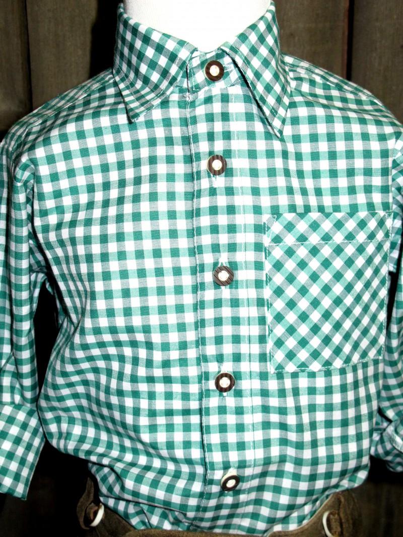 KIDSTRACHT Trachtenhemd Hemd grün kariert Gr. 62 - 176 – Bild 2