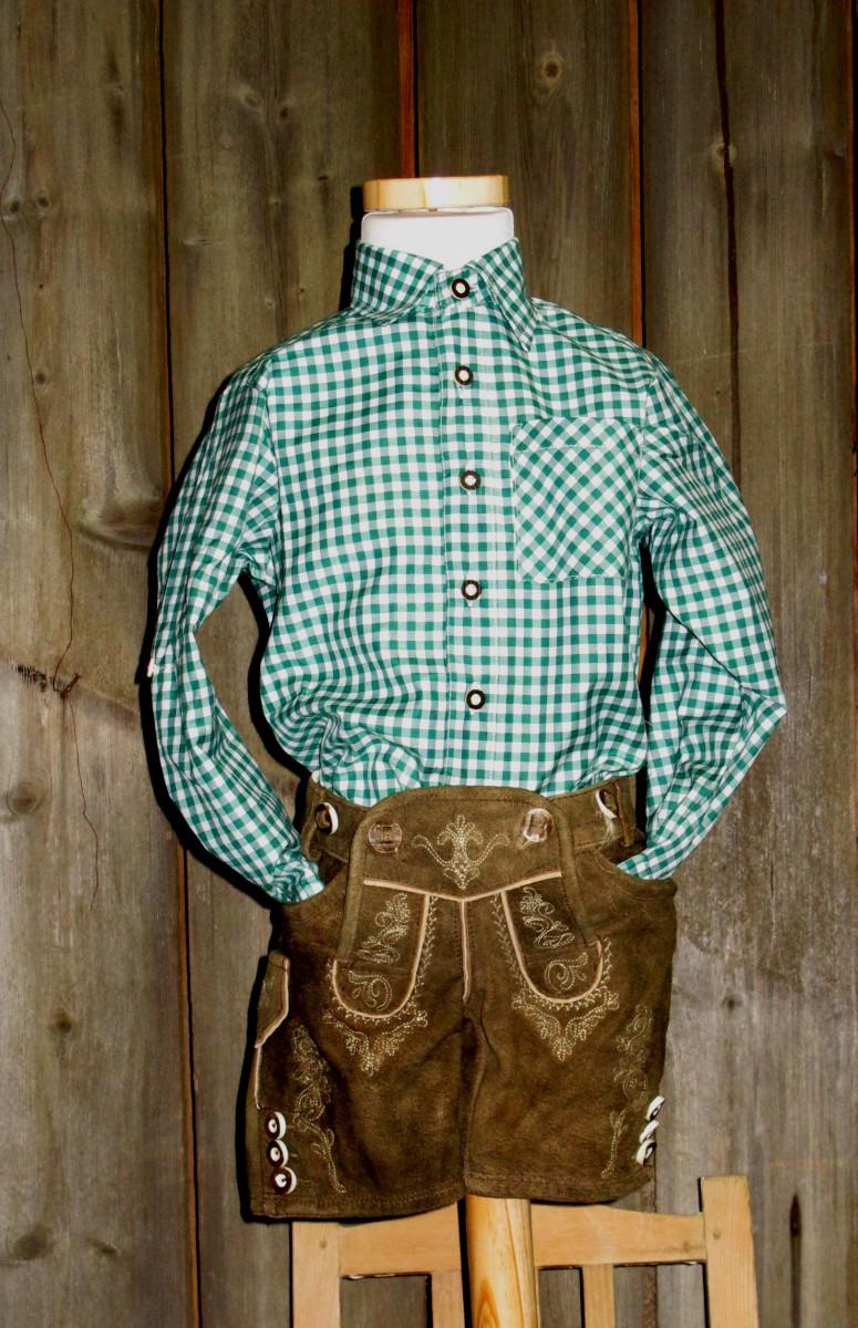 KIDSTRACHT Trachtenhemd Hemd grün kariert Gr. 62 - 176