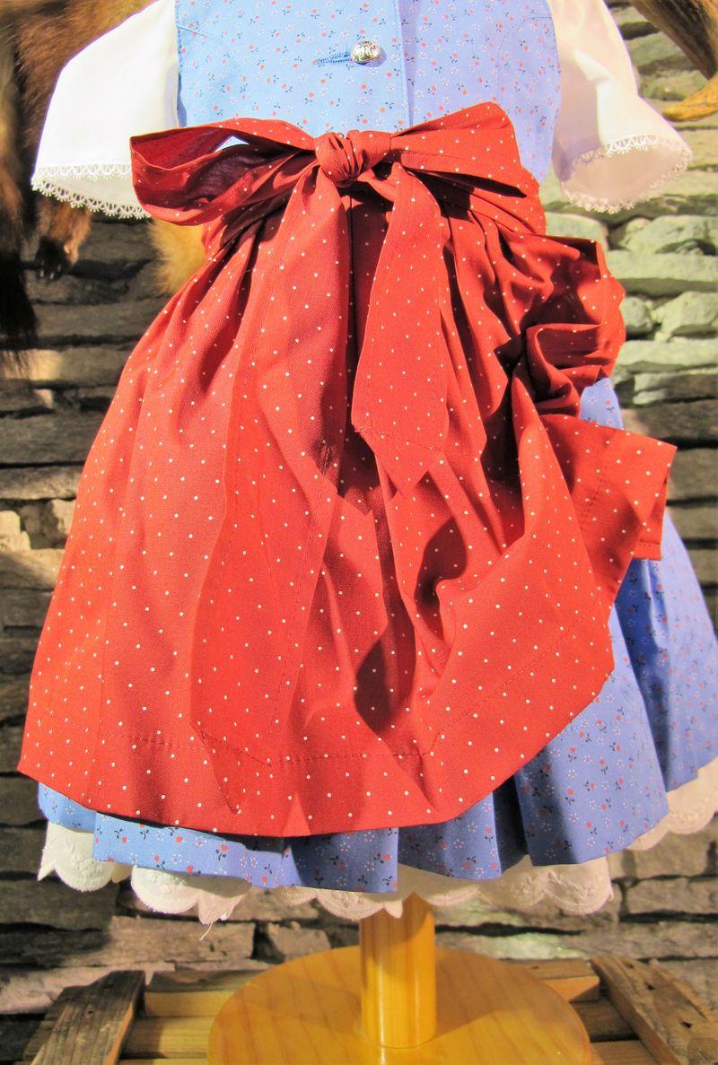 Berwin&Wolff Dirndl Baby  Kinderdirndl hochgeschlossen hellblau rot incl. Bluse Gr.  62 - 158 – Bild 4
