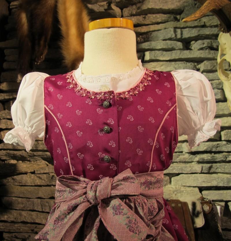 Isar Trachten Kinderdirndl Babydirndl Dirndl incl.Bluse und Schürze fuchsia pink 62 - 140 – Bild 5
