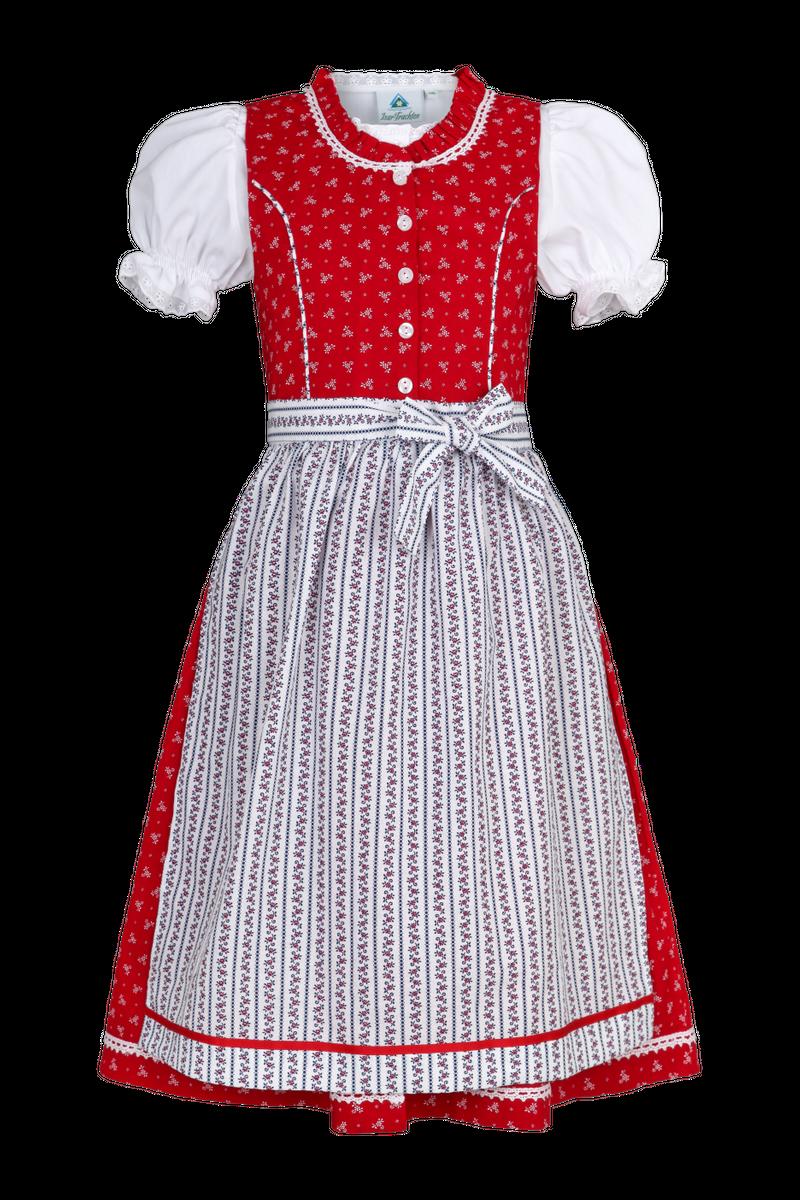 Isar Trachten Babydirndl Kinderdirndl Dirndl incl.Bluse und Schürze rot Gr 80 - 164 – Bild 3
