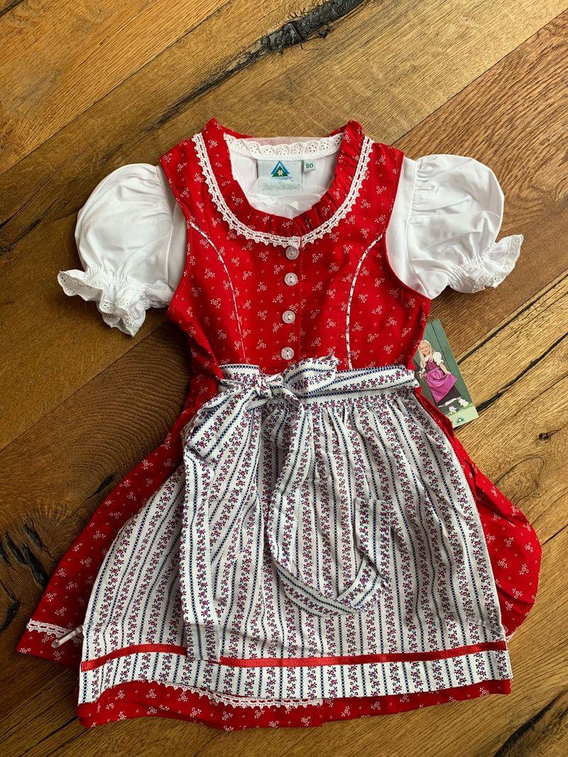 Isar Trachten Babydirndl Kinderdirndl Dirndl incl.Bluse und Schürze rot Gr 80 - 164 – Bild 1