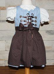 Berwin u Wolff Dirndl blau braun incl.Bluse und Schürze pink Gr. 80-122 001