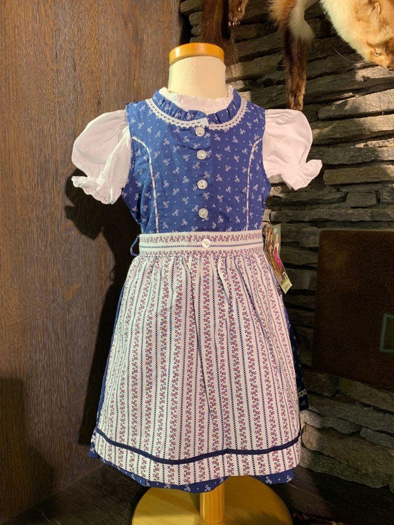Isar Trachten Babydirndl Kinderdirndl Dirndl incl.Bluse und Schürze blau Gr 80 - 164 – Bild 1