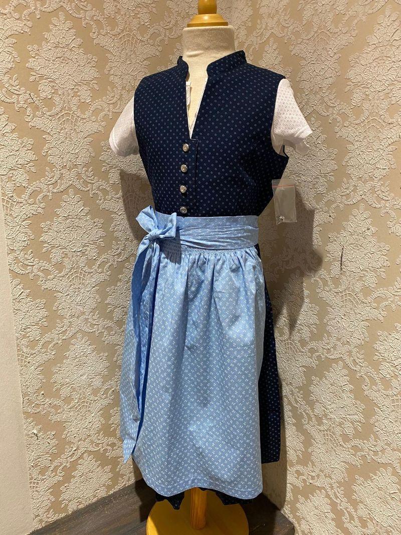 Marjo Partnerlook 5 Kinder Dirndl Kinderdirndl mit Bluse blau Gr. 98 - 176 – Bild 1