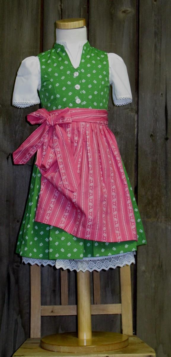 Berwin und Wolff Dirndl hochgeschlossen grün rosa incl.Bluse und Schürze Gr. 62-146 – Bild 1