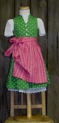 Berwin und Wolff Dirndl hochgeschlossen grün rosa incl.Bluse und Schürze Gr. 62-158 001