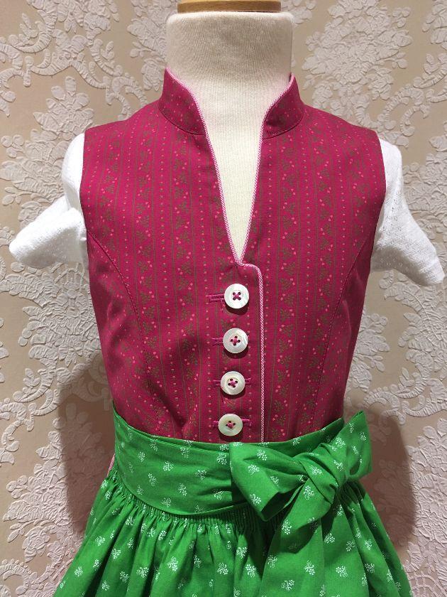 Hammerschmid Dirndl Gr. 116 - 164 pink grün mit Bluse und Schürze – Bild 2