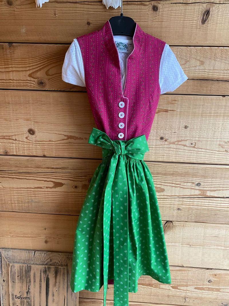 Hammerschmid Dirndl Gr. 116 - 164 pink grün mit Bluse und Schürze – Bild 1