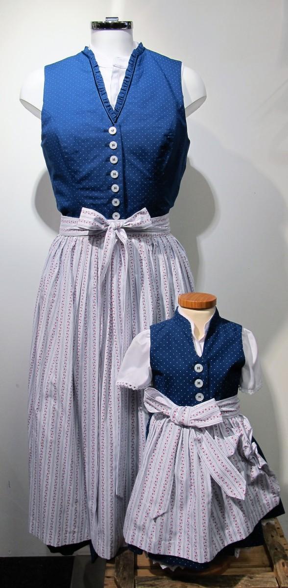 Damendirndl Dirndl Partnerlook 2 Berwin & Wolff blau weiß Gr. 32 - 42 – Bild 1