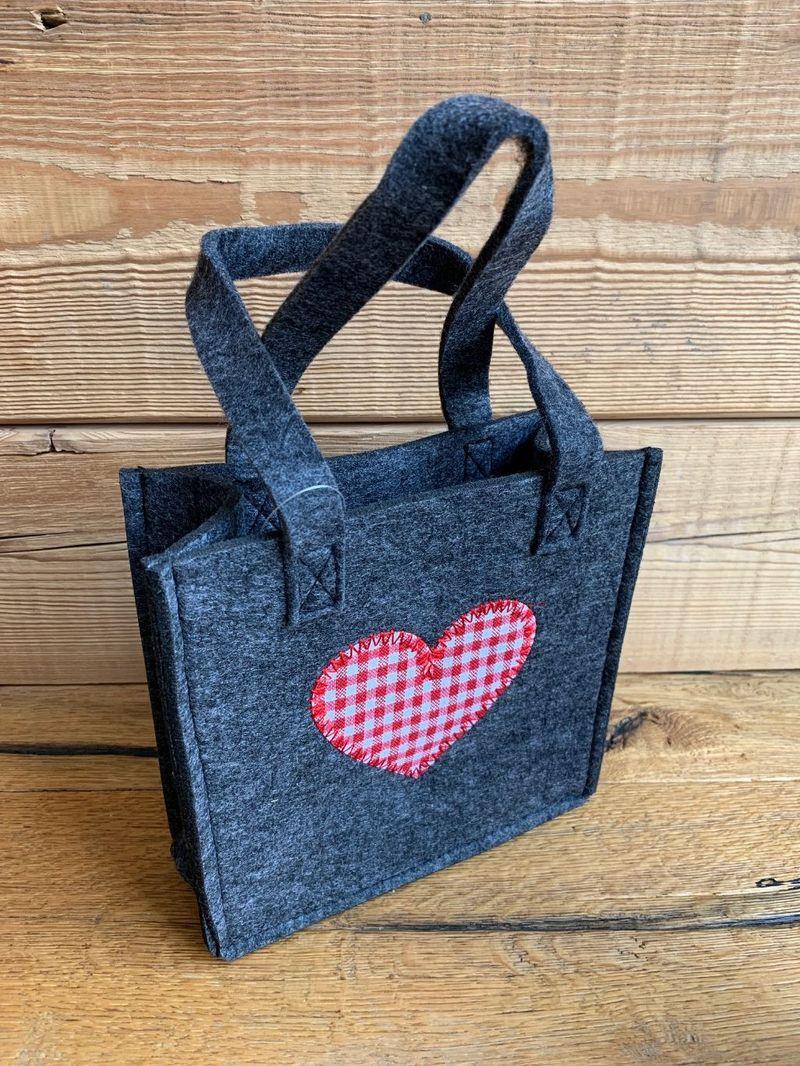 Filztasche Trachtentasche Filz Handtasche Tracht grau grün mit Herz – Bild 4