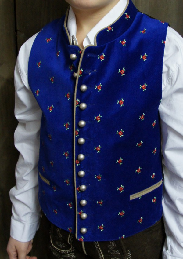 Turi Gilet/Samtweste mit Blumenstickerei blau Gr. 80-164 – Bild 1
