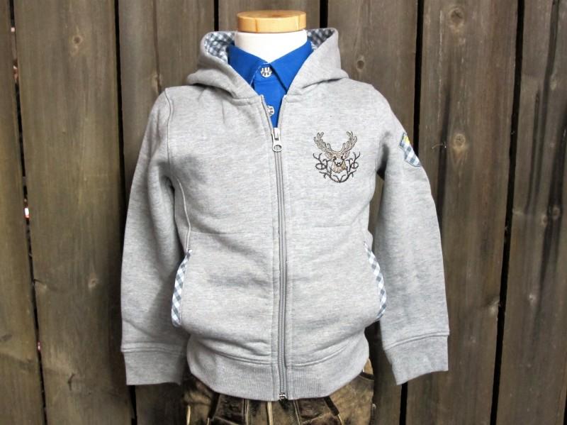 Isar Trachten Sweatjacke Kaputzenjacke Jacke langarm grau Gr. 68 - 176 – Bild 1